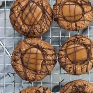 Mocha Almond Caramel Thumbprint Cookies