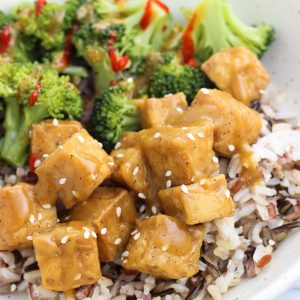 Oven Fried Tofu with Spicy Ginger Sauce