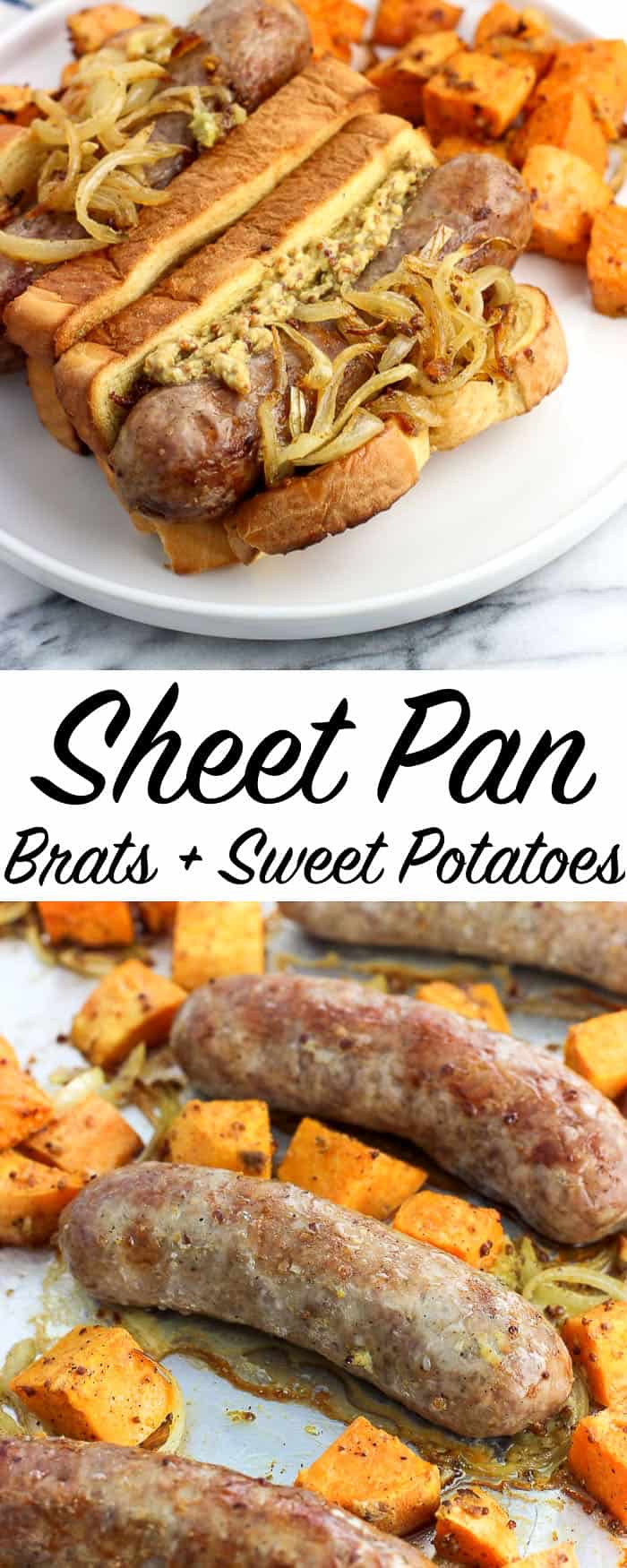 Sheet pan bratwurst and sweet potatoes is an easy dinner recipe where the meat, toppings, and side dish cook all on one pan. The bratwurst brown and 'crisp' up while the sliced onion softens beautifully. Stone ground mustard and warm spices flavor the roasted sweet potatoes for a complementary and delicious side dish.