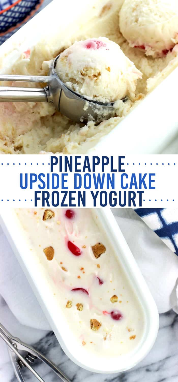 Pineapple upside down cake frozen yogurt is a creamy homemade frozen yogurt recipe that isn't too 'icy' or 'frosty' thanks to a few tips. Vanilla wafers, pineapple chunks, and maraschino cherries are swirled throughout for a fun take on a dessert classic.