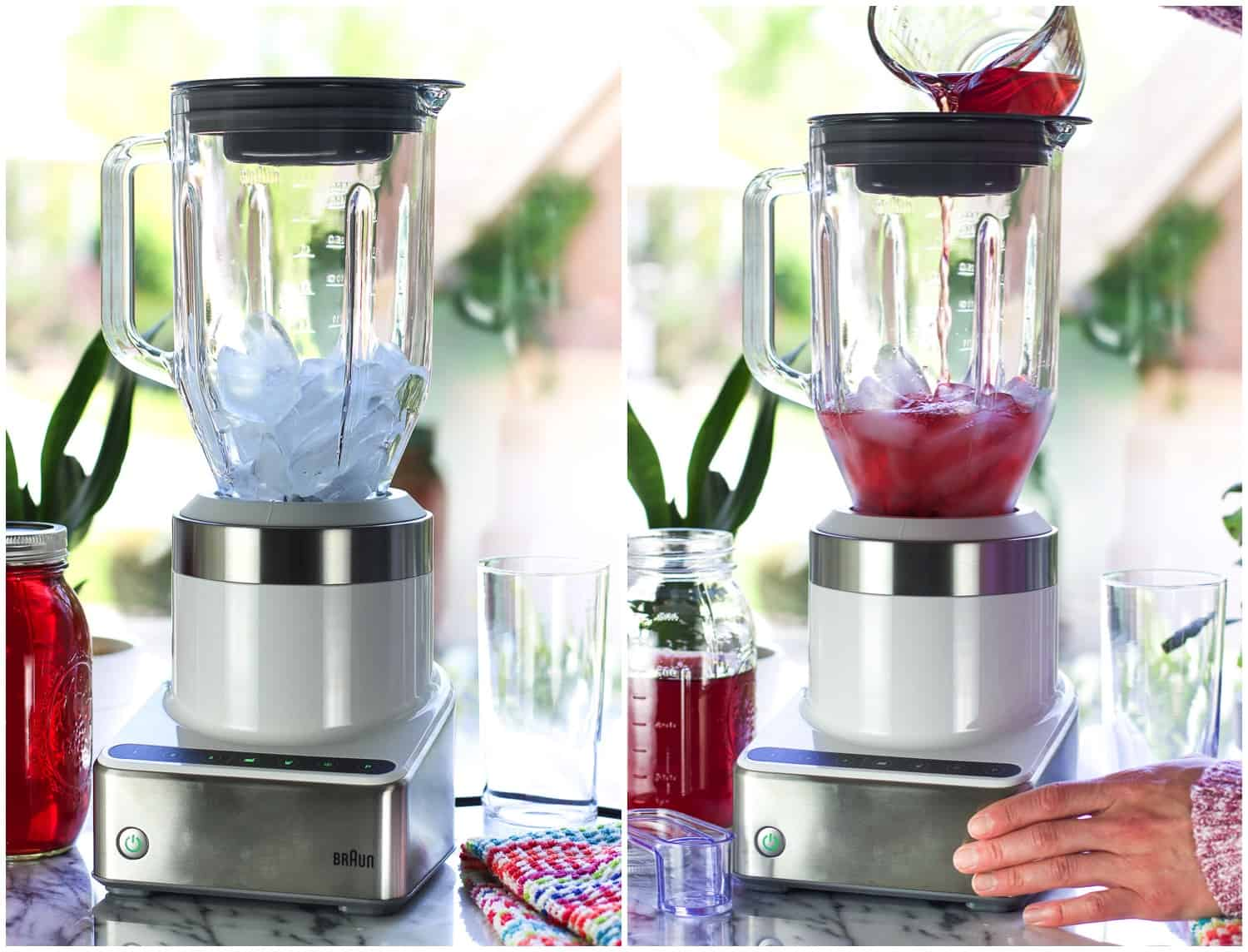 A side-by-side picture of ice in the blender and a woman pouring iced tea into the blender