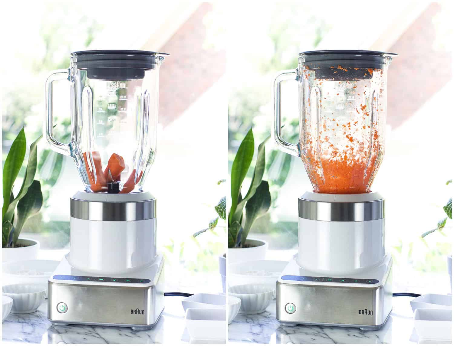 A side-by-side picture of whole carrots being finely chopped in the blender