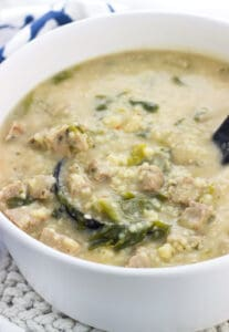 This Italian wedding soup with turkey meatballs is made even healthier with a sneaky ingredient blended into the creamy broth: cannellini beans. Bringing extra protein and fiber, the beans join escarole for nutrient packed additions to this year-round favorite soup recipe.