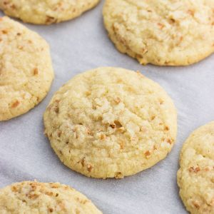 Chewy toasted coconut cookies are made in one bowl for an easy coconut and almond flavored cookie recipe.