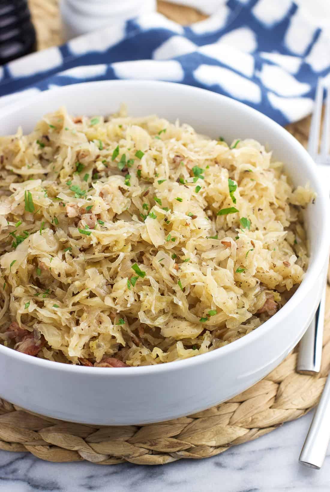 A serving bowl of sauerkraut.