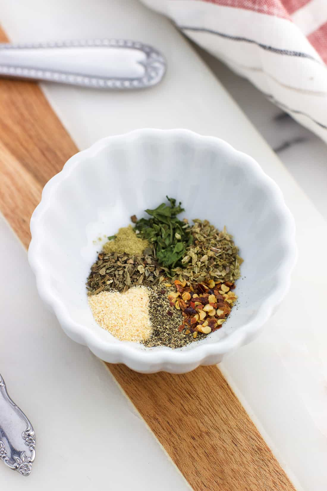 The dry soup spices in a small bowl