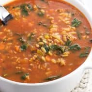 Italian Sausage Soup with Orzo and Spinach