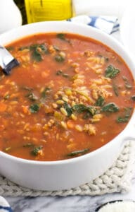 Italian sausage soup with orzo and spinach is a healthy and filling soup recipe perfect for year round! Serve with a crusty piece of bread and a salad for a well-balanced meal.