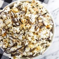 Chocolate Drizzled Kettle Corn with Almonds