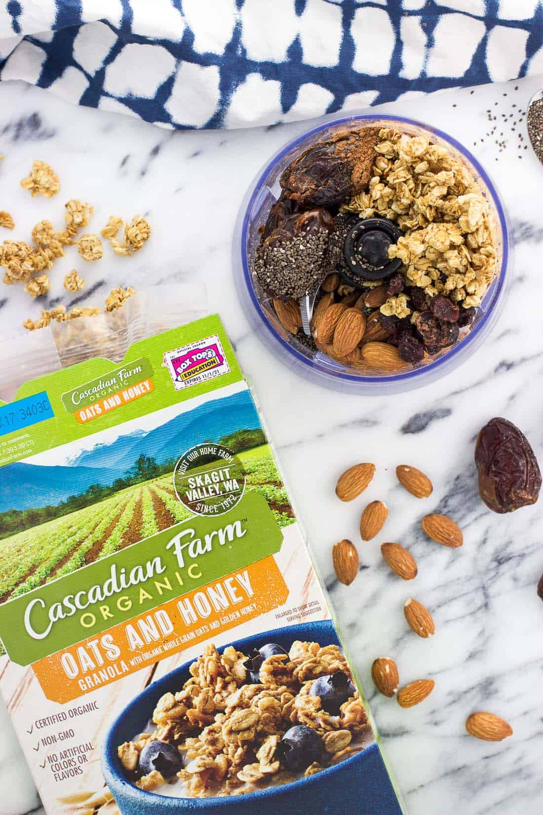Chia trail mix bars combine all of your favorite trail mix flavors in a hearty and chewy snack bar. Customize these date-based bars with your favorite ingredients for a healthy snack your whole family will love.