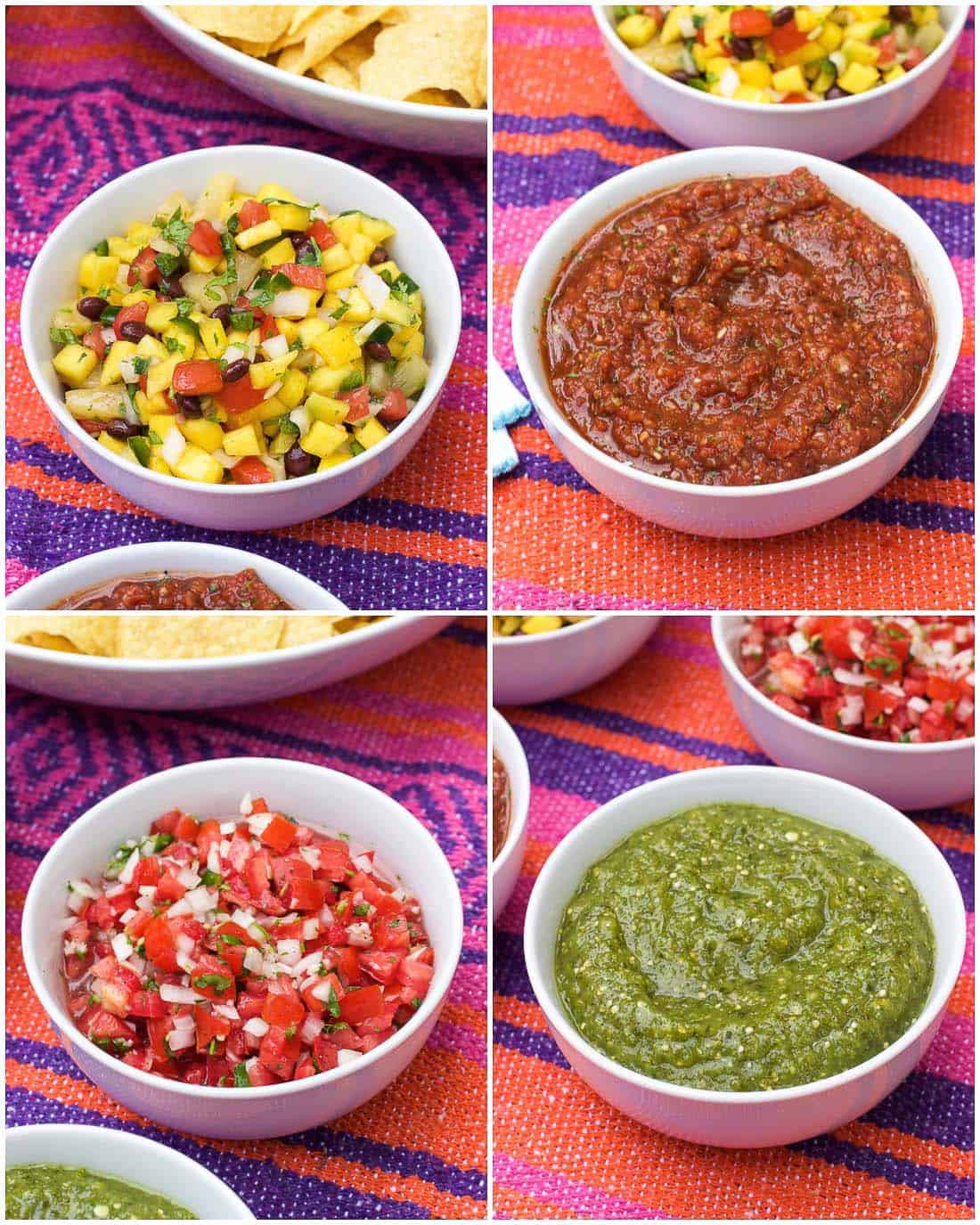 A four-image collage of the different types of salsas in white bowls
