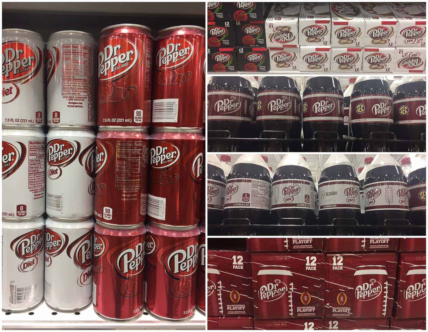 A variety of Dr Pepper products on supermarket shelves.