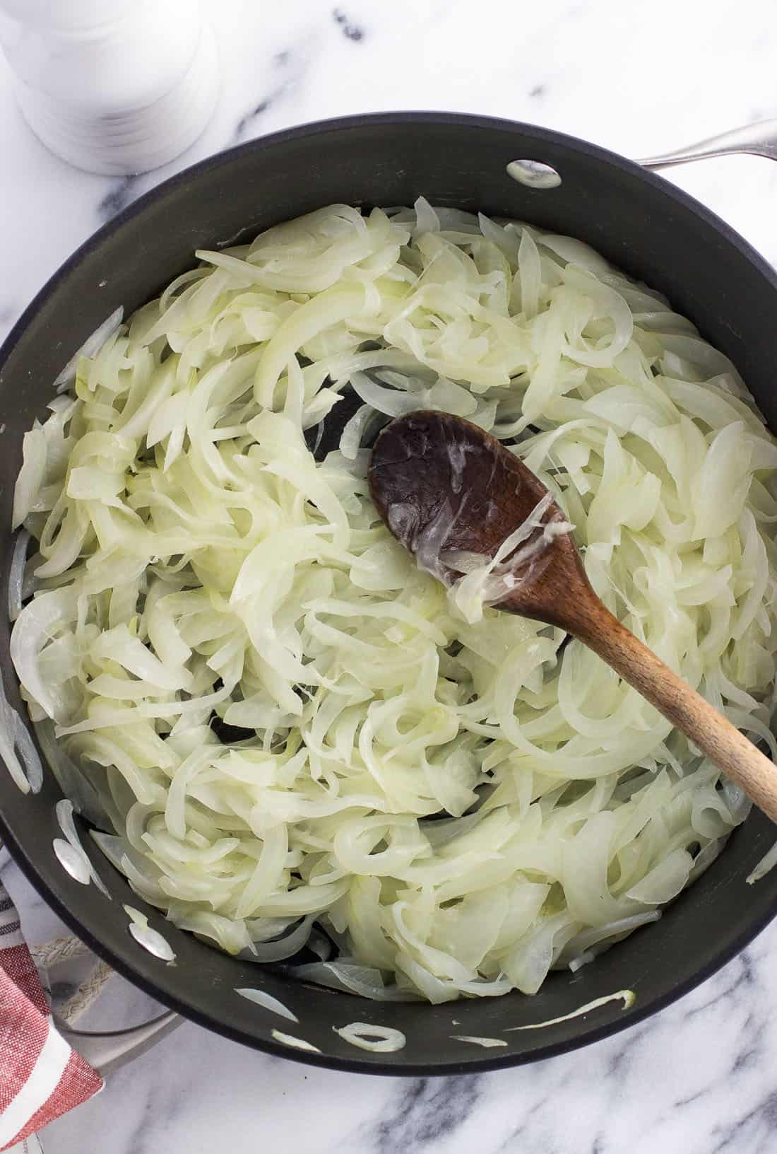 Curious how to make caramelized onions? It's not hard! Three ingredients are all you need to make this simple condiment that takes any meal up a notch. Caramelized onions make a great addition to sandwiches (especially grilled cheeses), salads, omelettes or frittatas, and more.