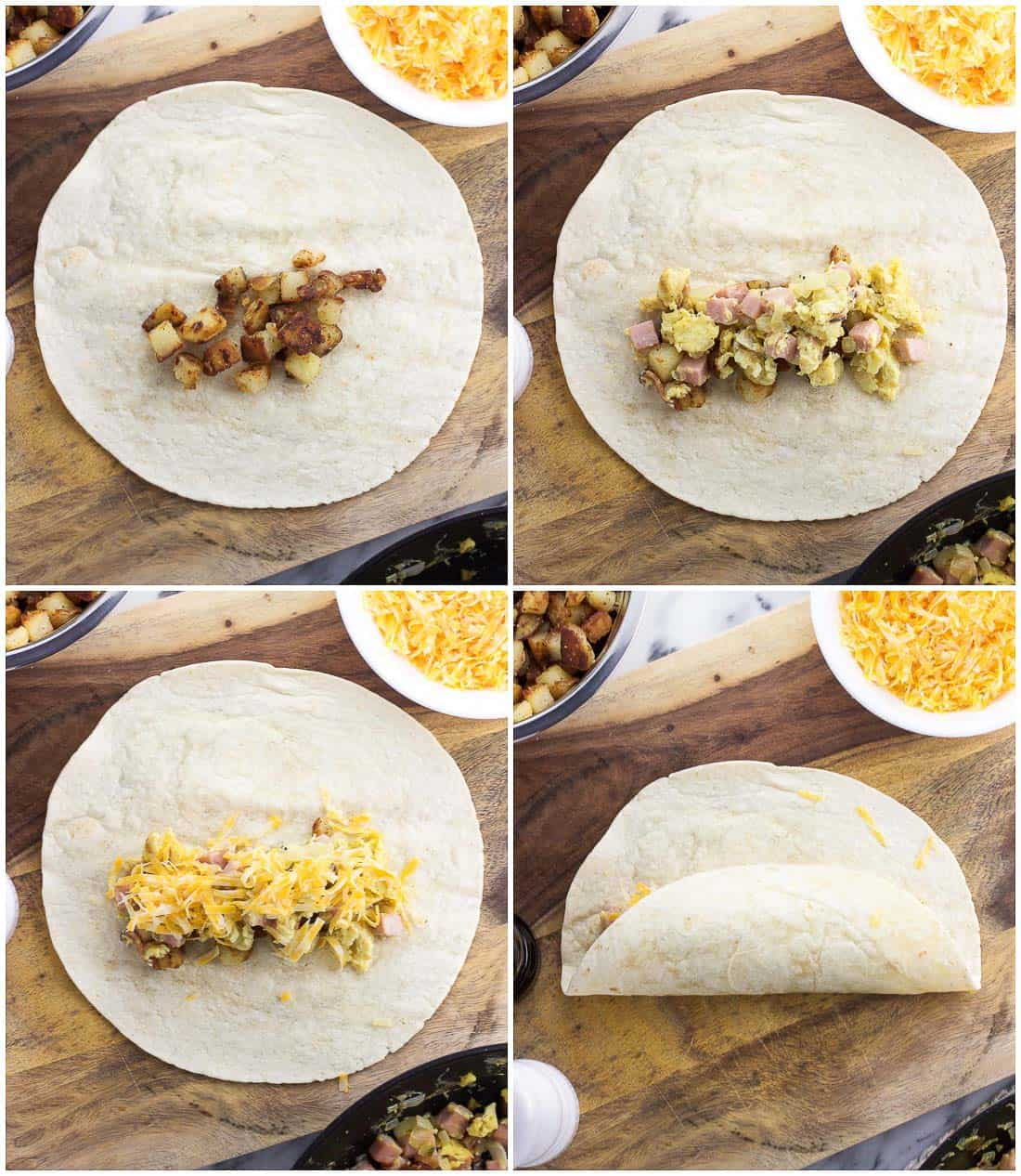 A four-image collage of the stages of folding and wrapping a tortilla into a burrito