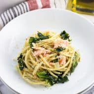 Garlicky Salmon Pasta with Escarole
