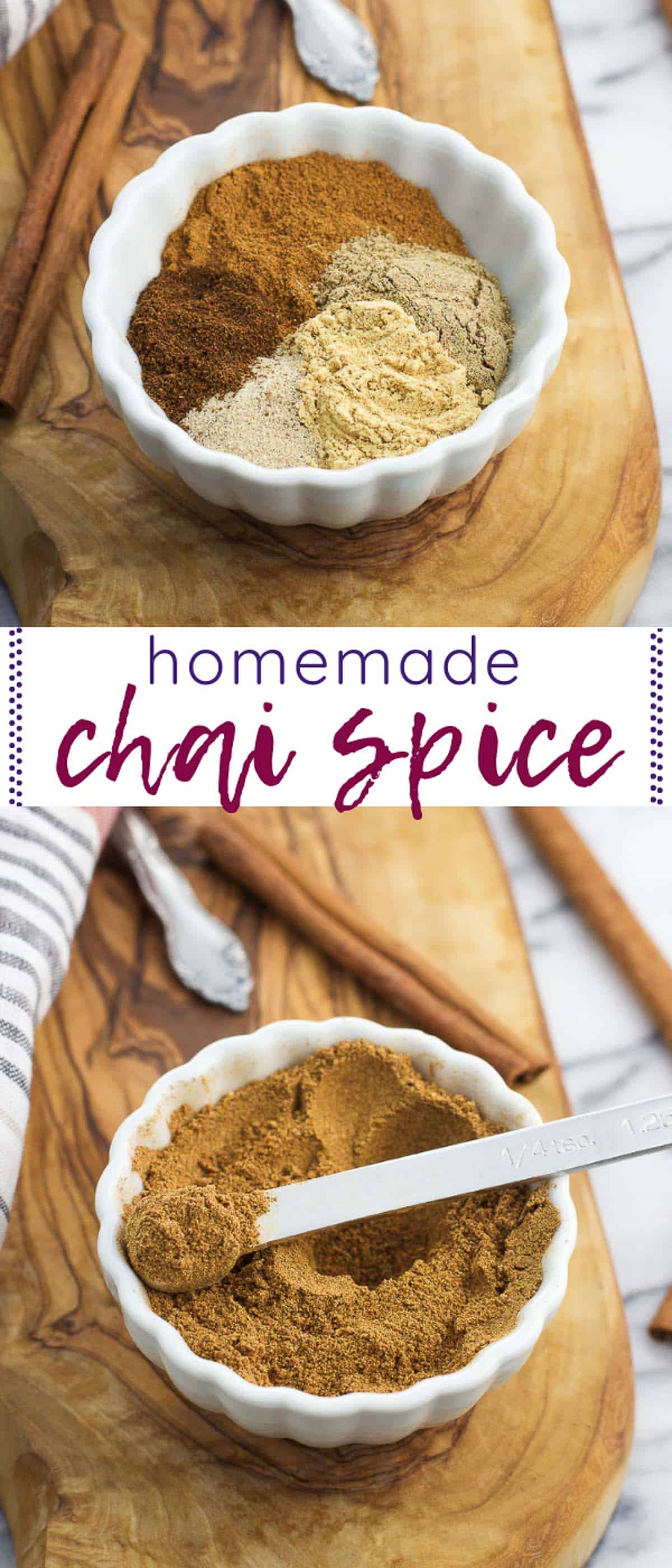 A tall image collage featuring both chai spice pictures with text stating the recipe name between them