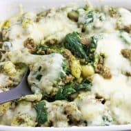 Pesto Gnocchi Bake with Sausage and Spinach