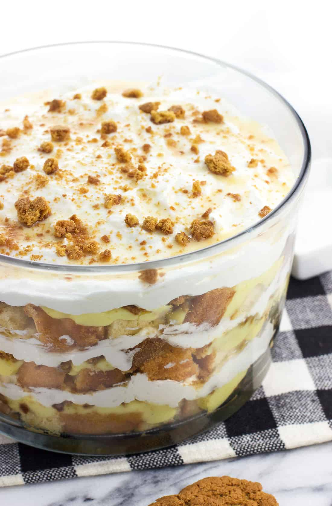 Pound cake trifle in a large glass bowl.