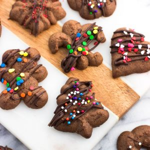 Chocolate spritz cookies are fun and festive! These easily shaped cookies are made in a flash using a cookie press, and can be decorated any way you please. These cookies freeze well!
