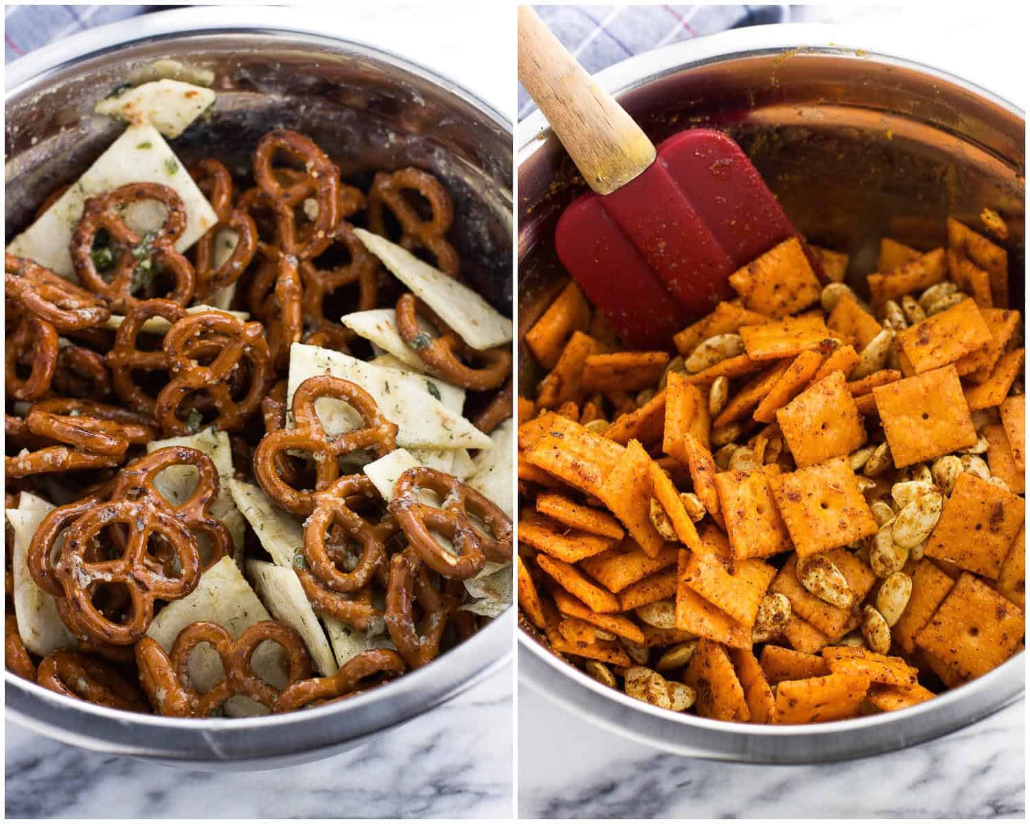 A side-by-side image collage of two bowls, one filled with tortilla strips and pretzels and the other with cheese crackers and pumpkin seeds
