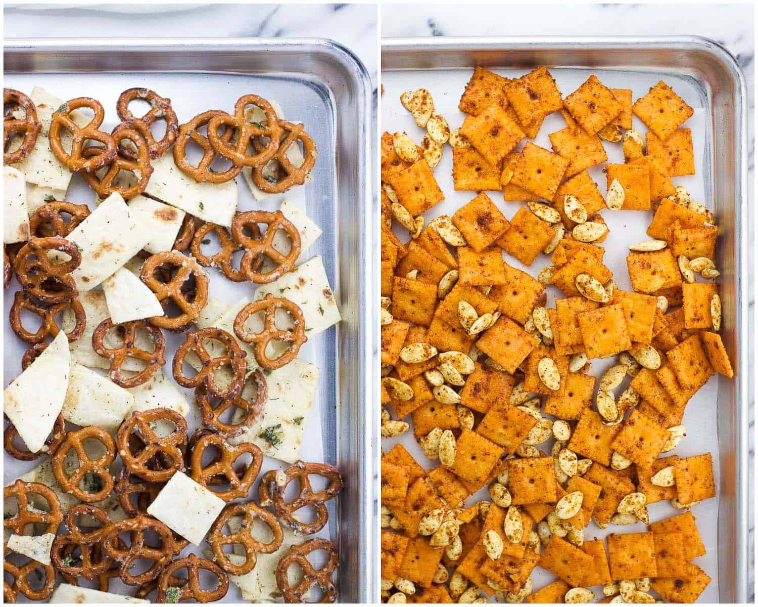 A side-by-side image collage of the pretzels and tortilla strips and cheese crackers and pumpkin seeds laid out onto rimmed baking sheets