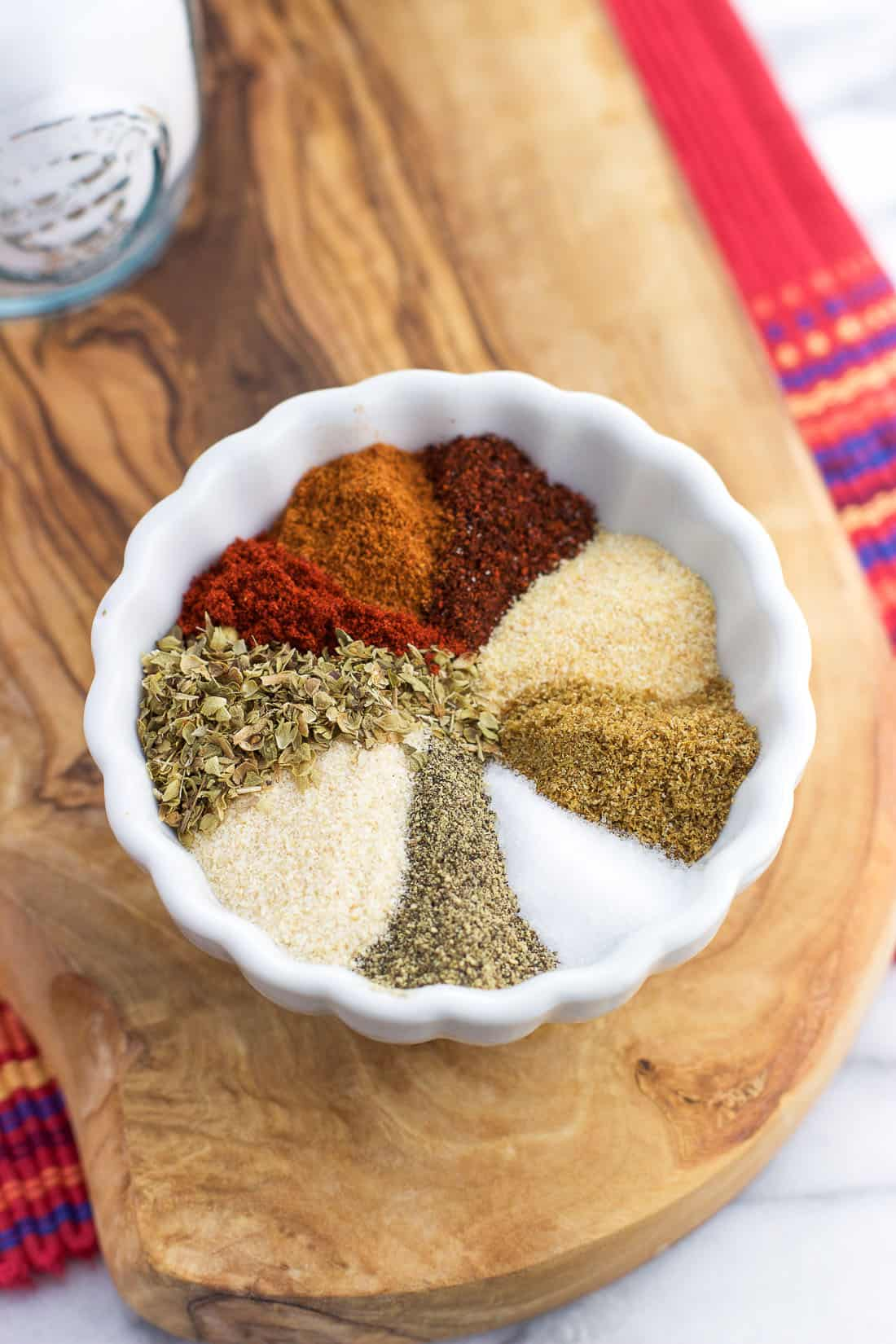 Taco seasoning ingredients in a small bowl before being stirred together.