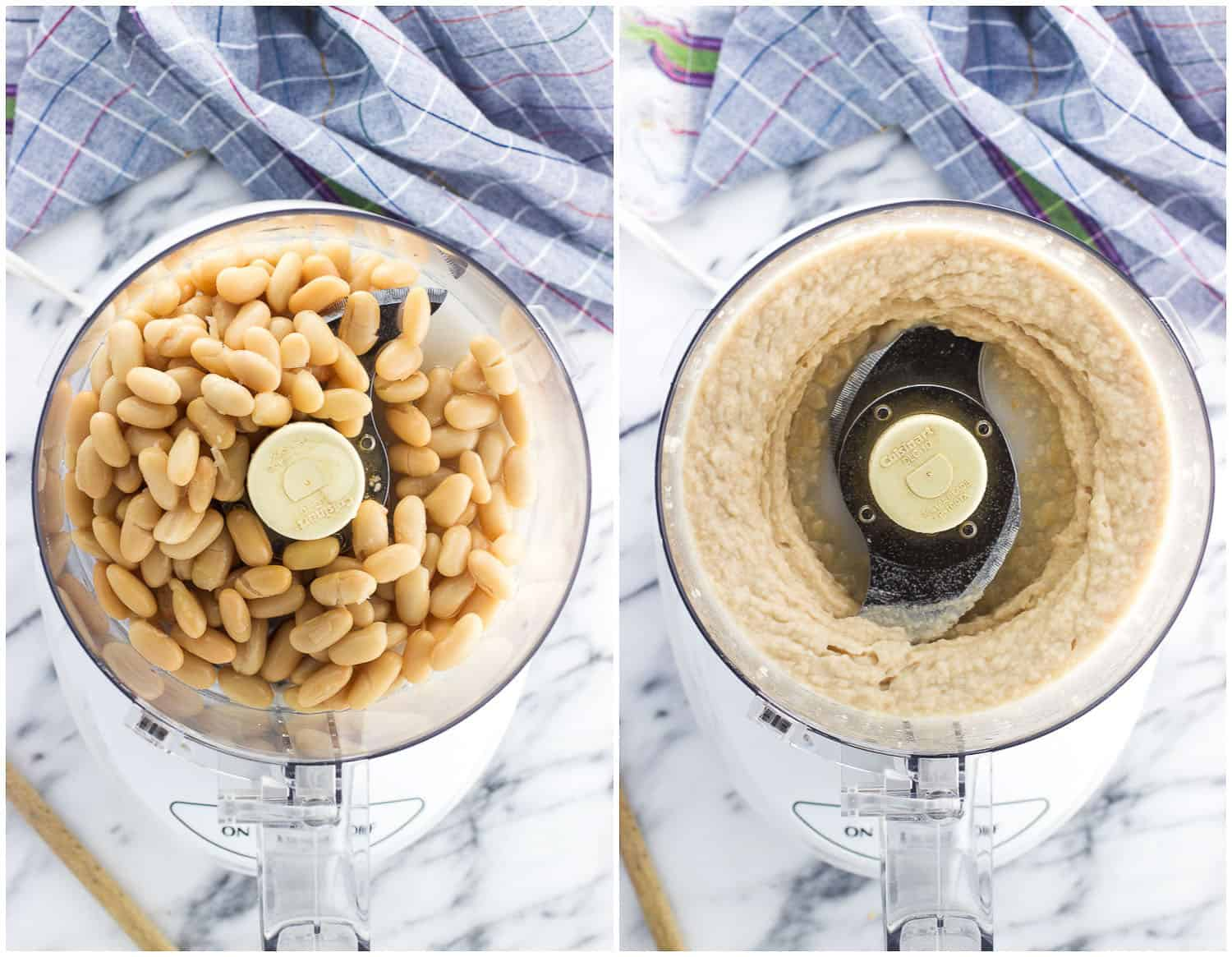 A side-by-side photo of cannellini beans in the food processor before being processed (left) and after (right)