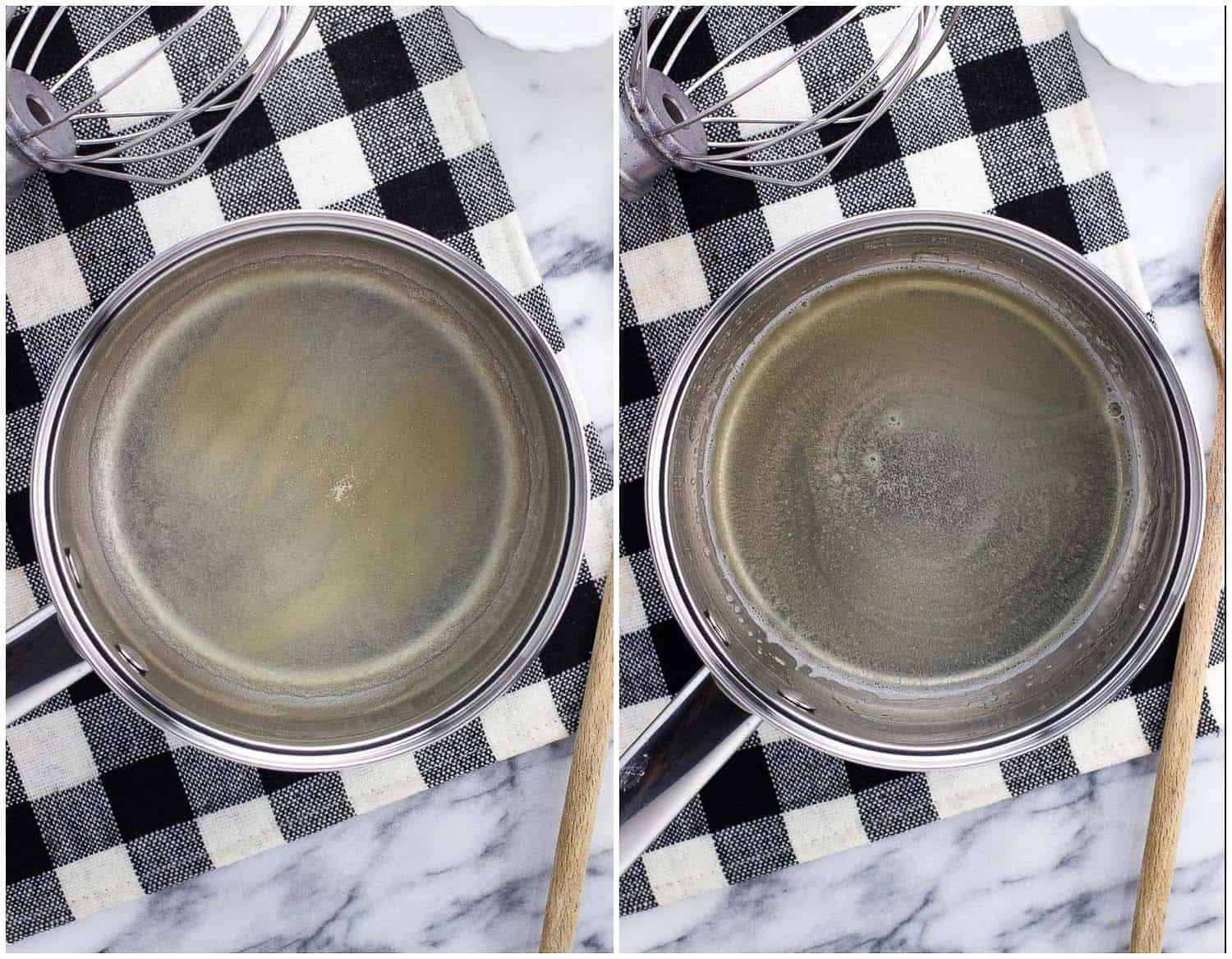 Gelatin sprinkled in hot water in a saucepan (left) and after being dissolved (right).
