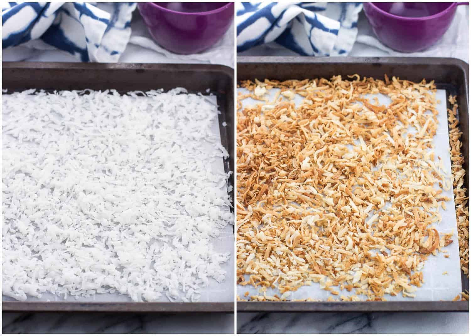 A side-by-side picture of coconut flakes on a parchment-lined baking sheet before toasting (left) and after (right)