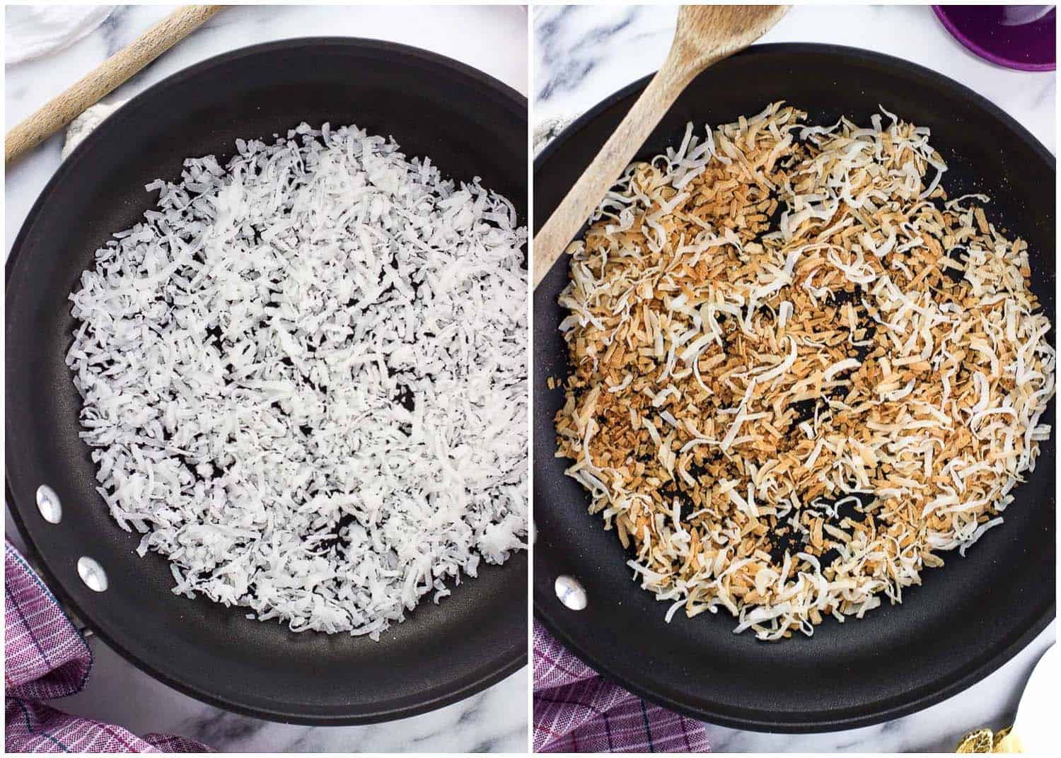 A side-by-side image of coconut flakes in a skillet next to a wooden spoon before toasting (left) and after (right)