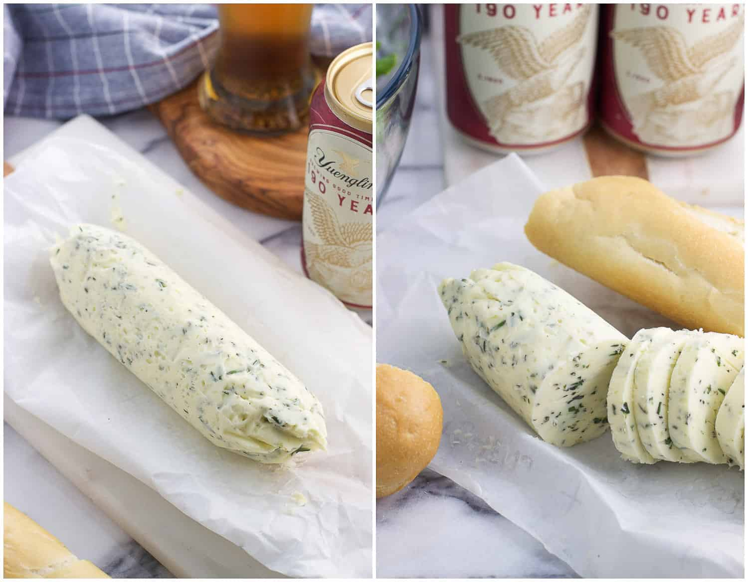 A side-by-side picture of rolled compound butter (left) and sliced compound butter (right)