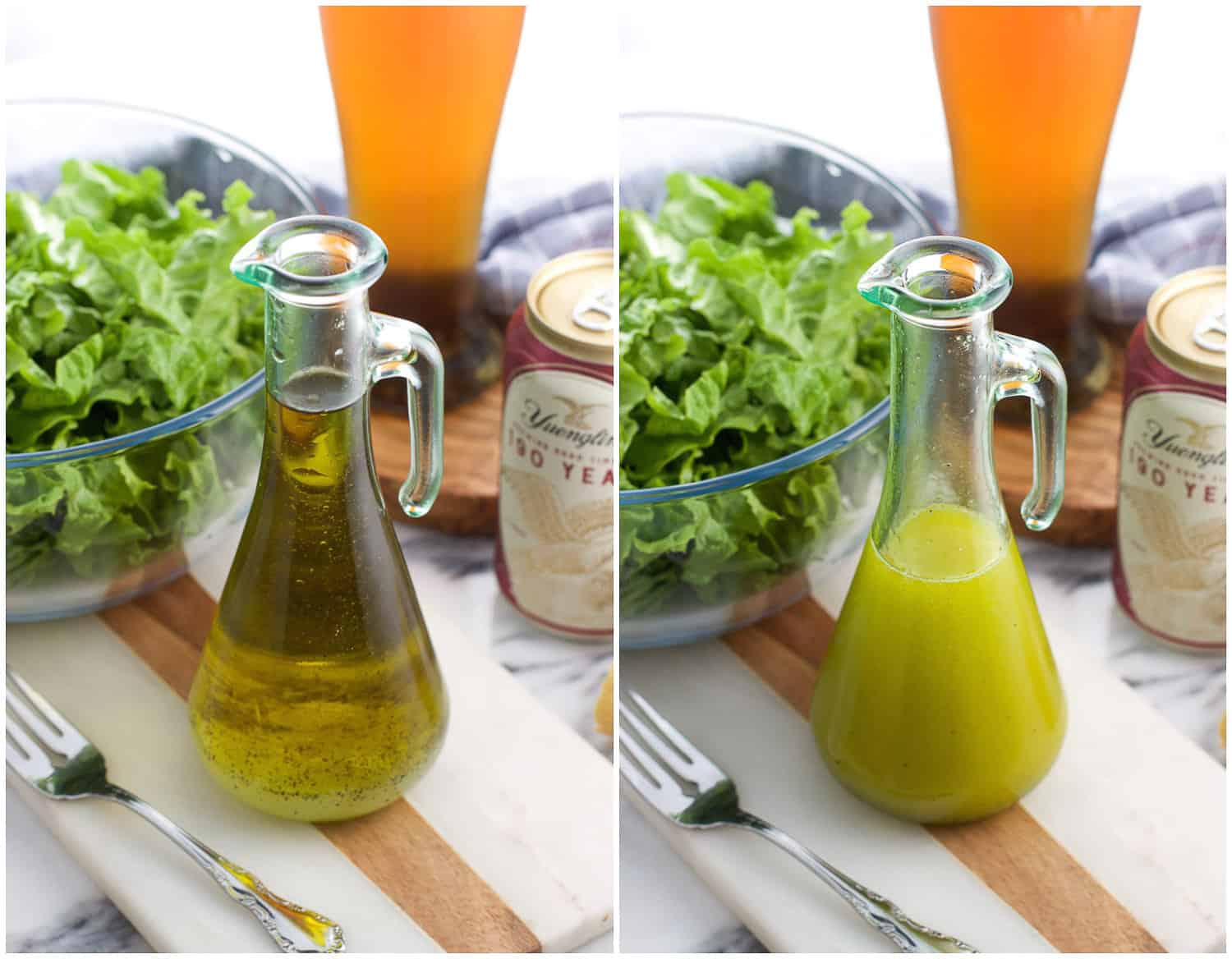 A side-by-side picture of vinaigrette ingredients in a clear dispenser before being shaken (left) and after being shaken (right)