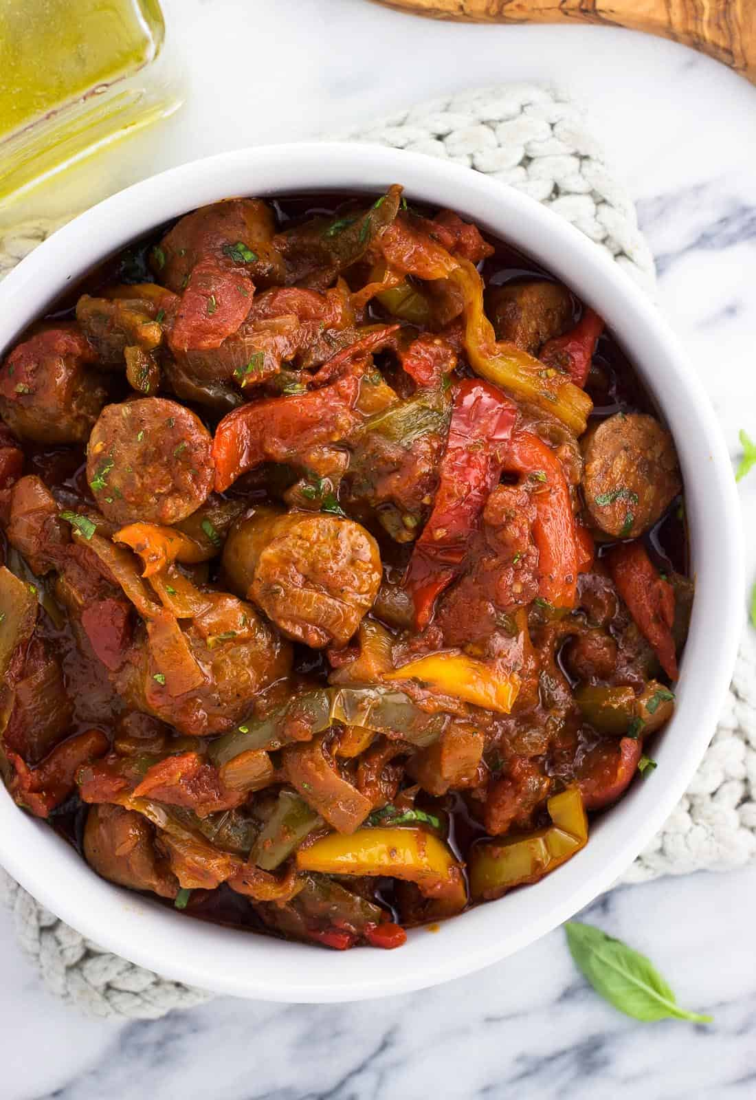 Sausage and peppers in a big serving bowl