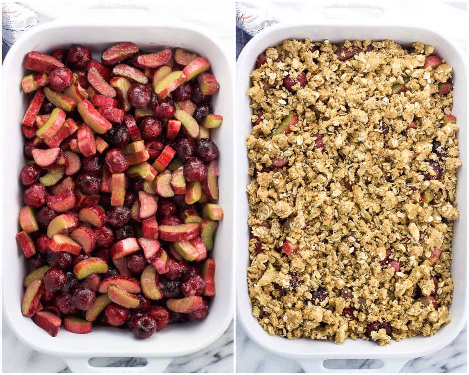 A side-by-side picture of cherries and rhubarb in a baking dish and then the fruit covered with oatmeal crisp topping pre-bake.