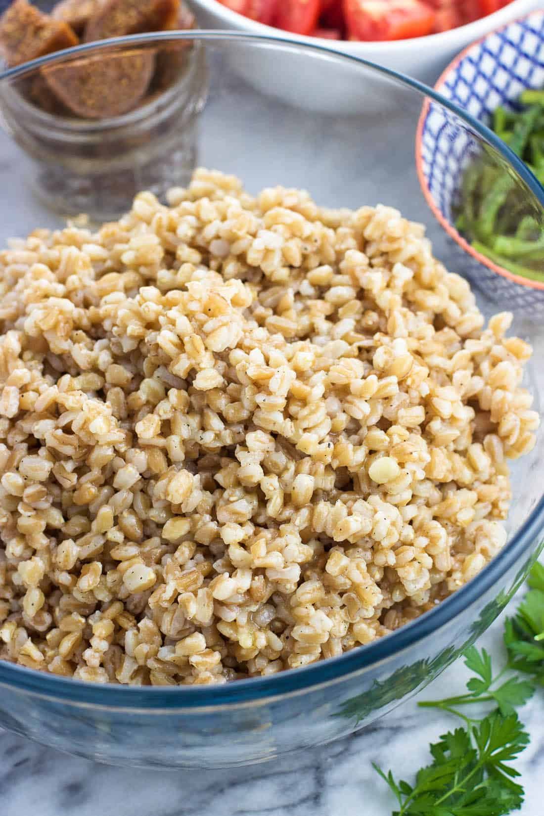 Cooked farro in a serving bowl