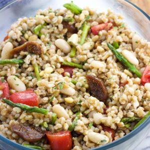 Assembled farro salad in a serving bowl