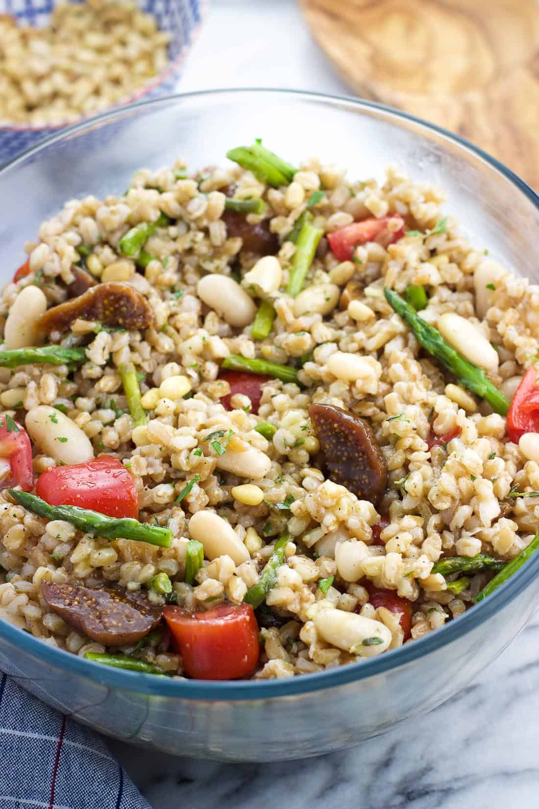 Assembled farro salad in a serving bowl