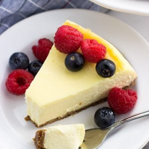 A slice of sour cream cheesecake