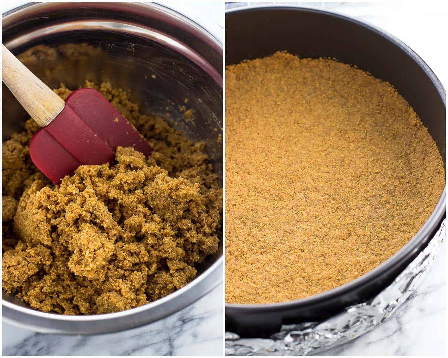A side-by-side photo of cheesecake crust ingredients mixed together (left) and the crust ingredients pressed into the springform pan (right)