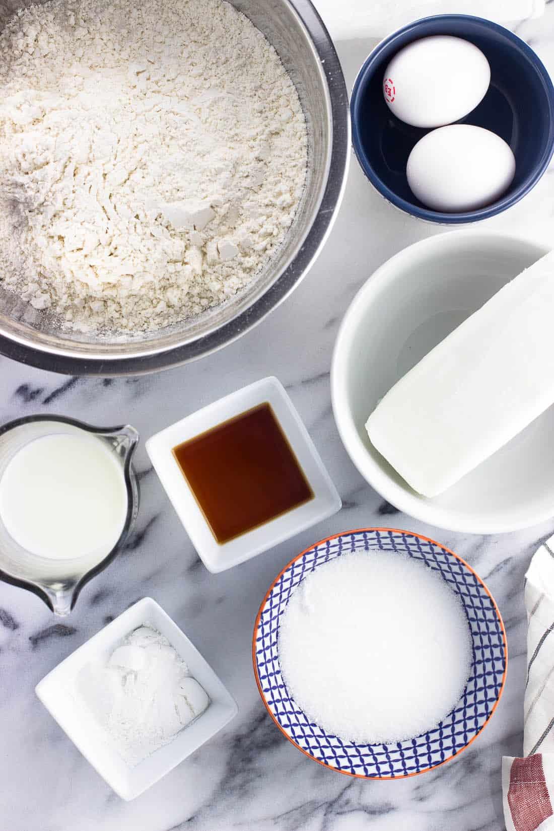 Italian fig cookie dough ingredients in separate bowls