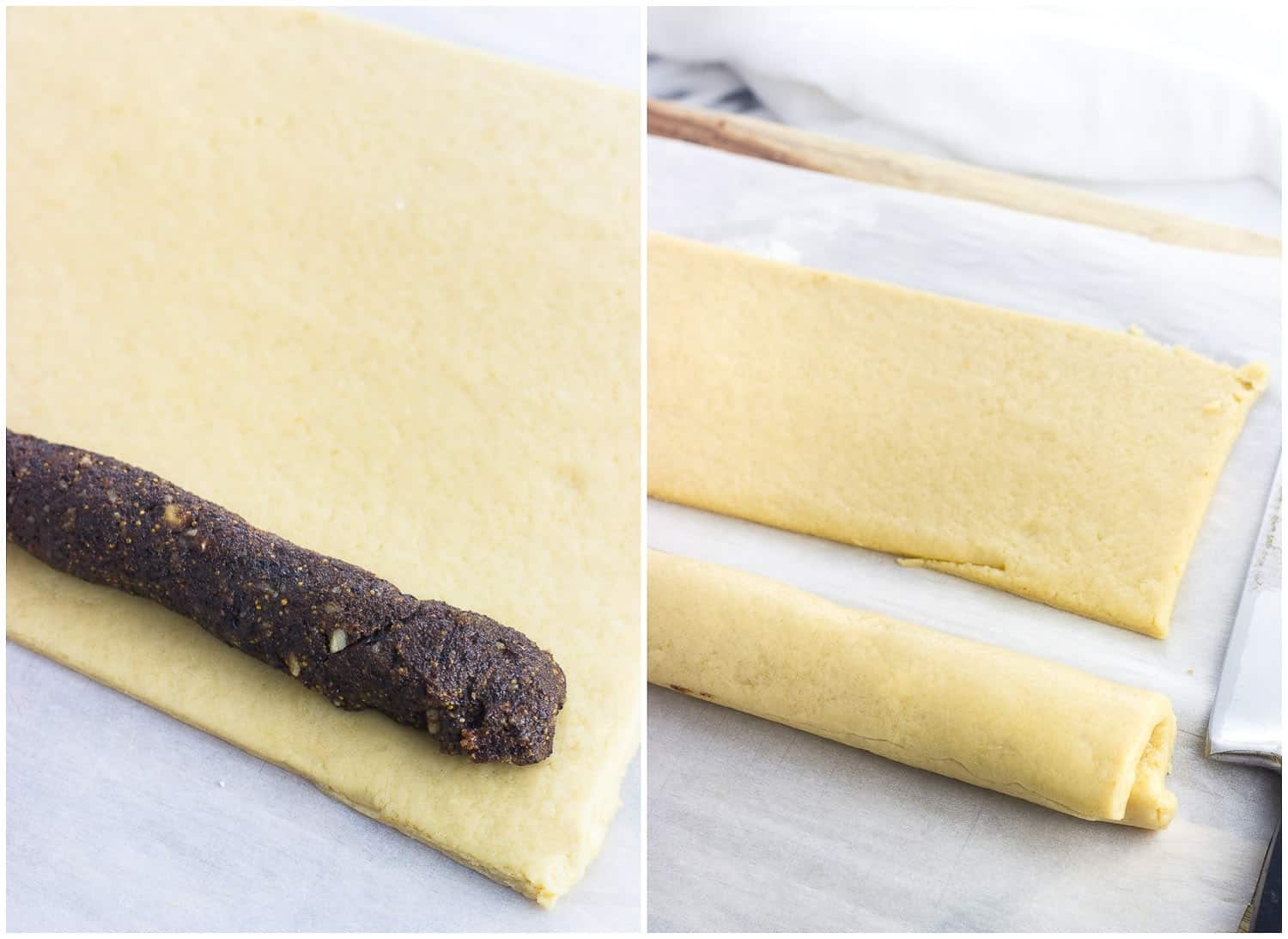 A side-by-side photo of (left) the filling arranged on the dough, and (right) the dough rolled around the filling, ready to be sliced into cookies