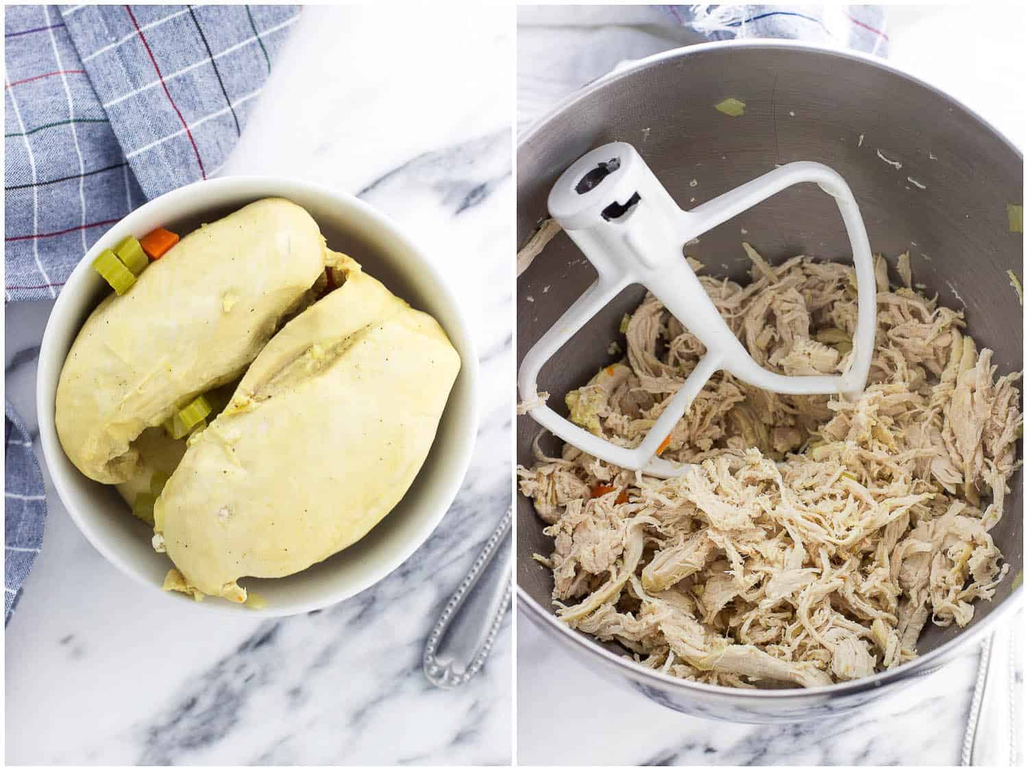 Cooked chicken breasts in a bowl (left) and shredded chicken in a stand mixer bowl with a paddle attachment (right).