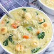 Creamy Chicken and Rice Soup with Spinach