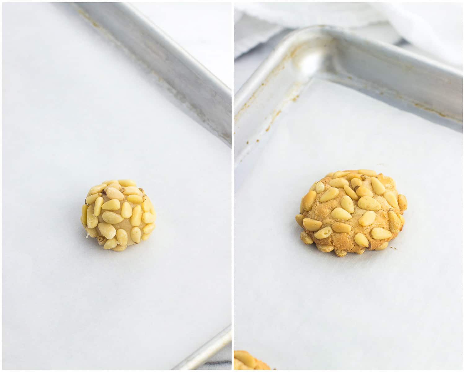 A picture of an unbaked pignoli cookie on a parchment-lined baking sheet next to a photo of a baked pignoli cookie on a baking sheet
