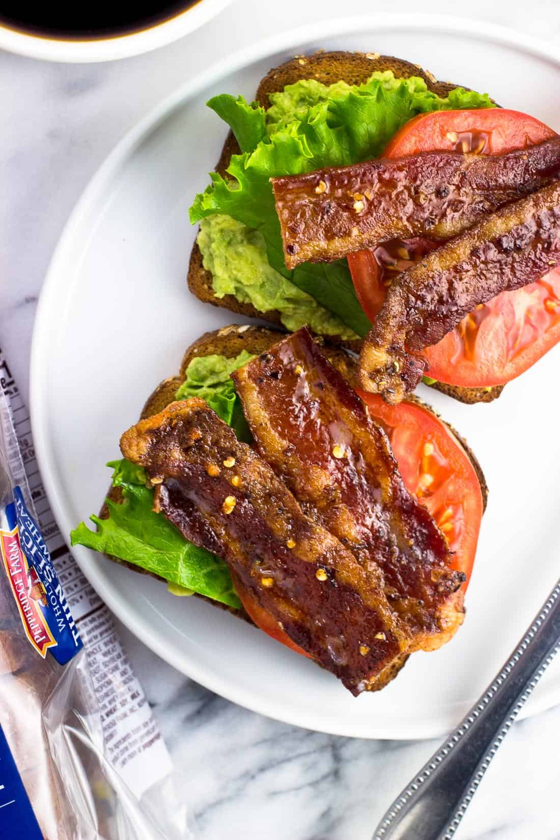 BLT Avocado Toast on a plate