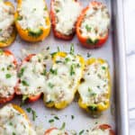 Sausage stuffed mini peppers after being baked