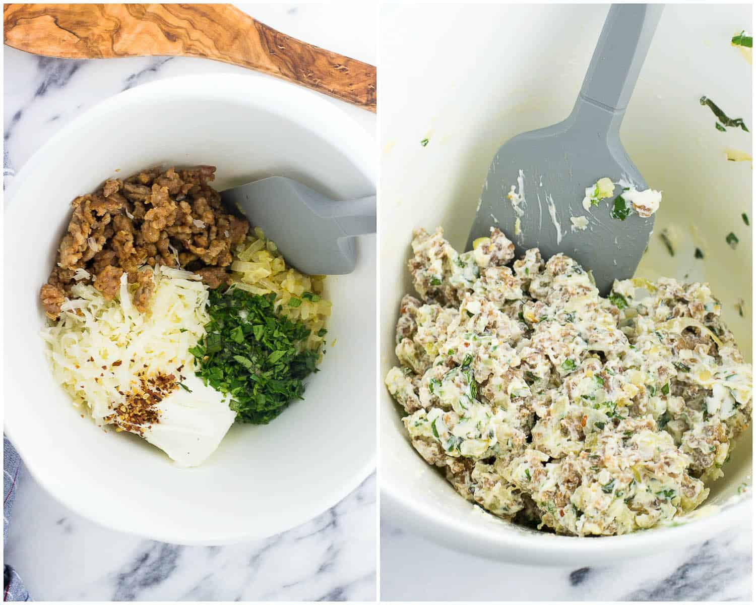 A side-by-side picture of the filling ingredients added to a bowl (left) and then mixed all together (right)