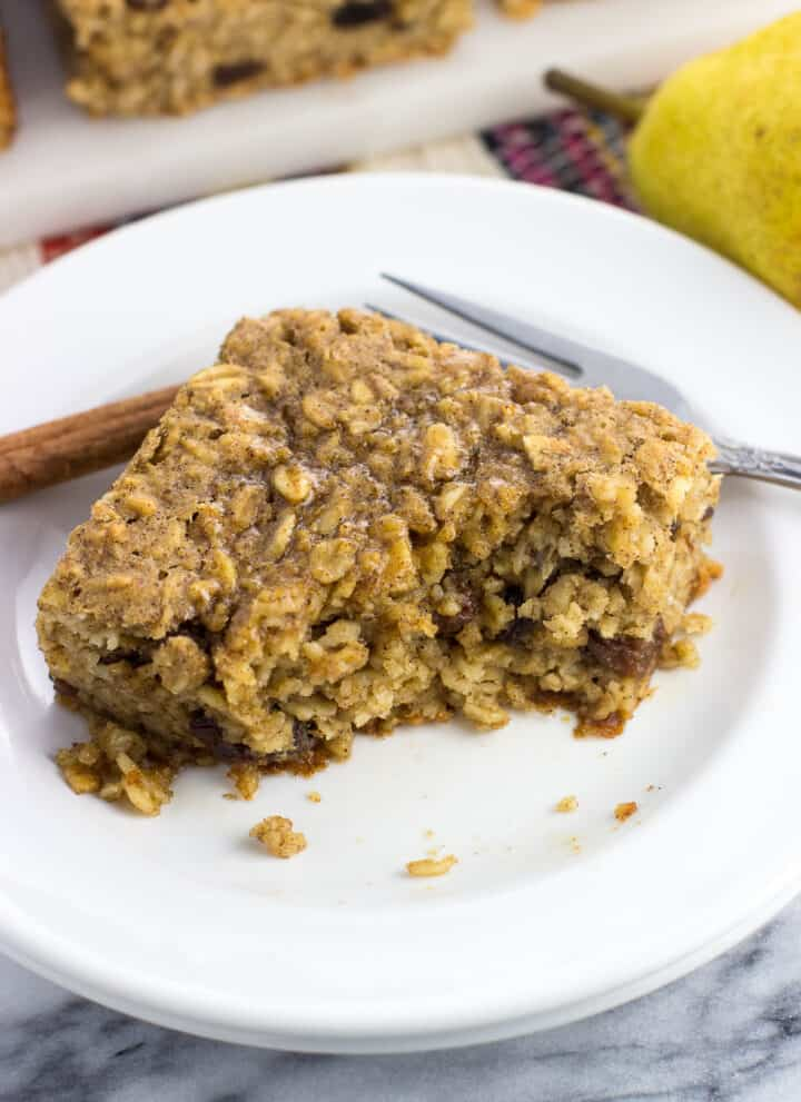 A piece of peanut butter baked oatmeal on a small plate