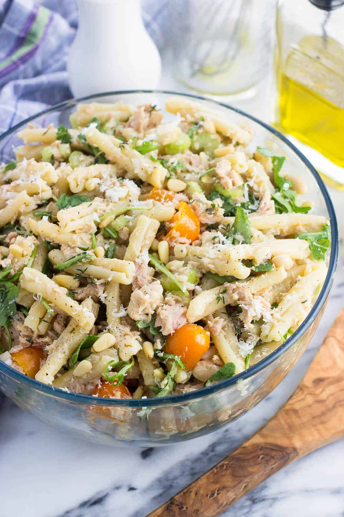Tuna pasta salad in a serving bowl