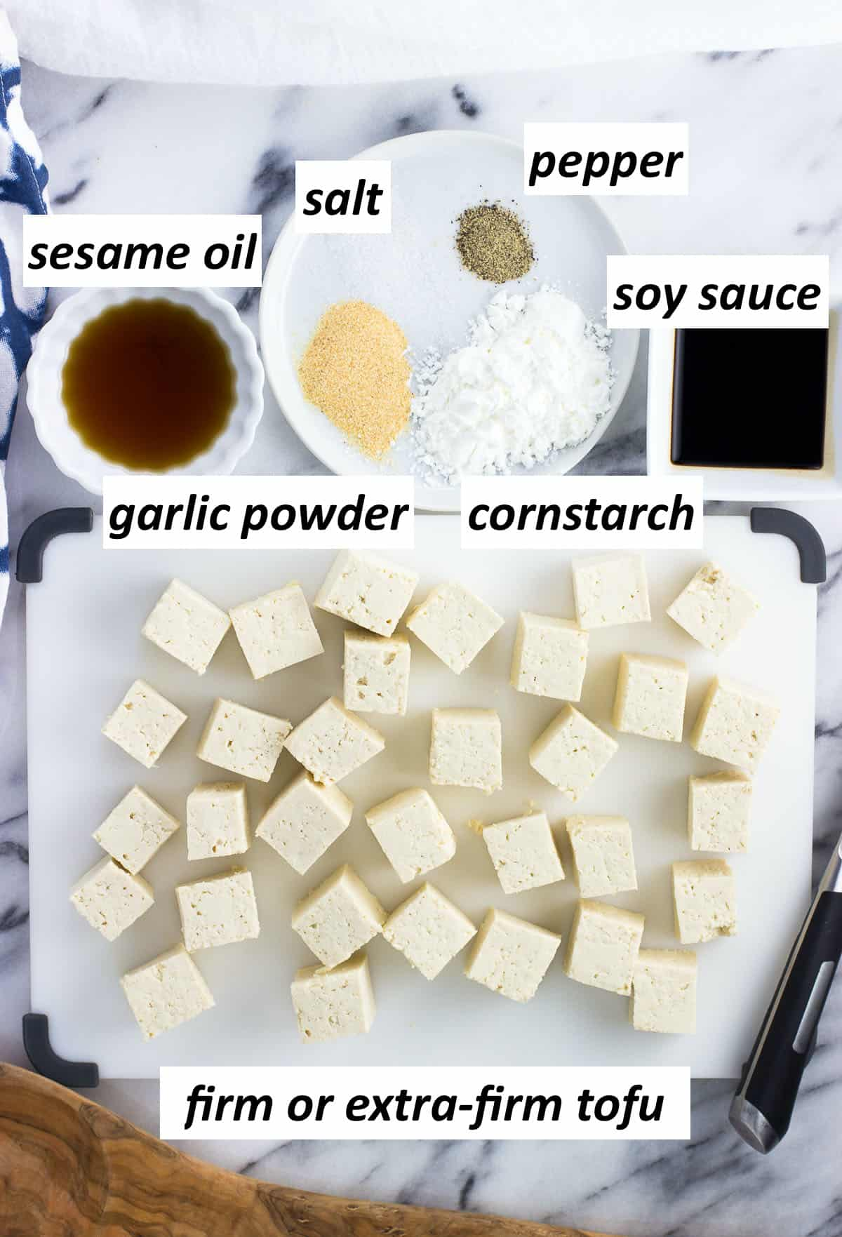 The recipe ingredients in a bowl and on a cutting board.